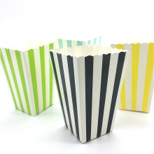 12pcs Stripe Pattern Folding Snack Candy Popcorn Boxes Favor Bags Paper Birthday Party Wedding Candy Gift Bag Hot Sale