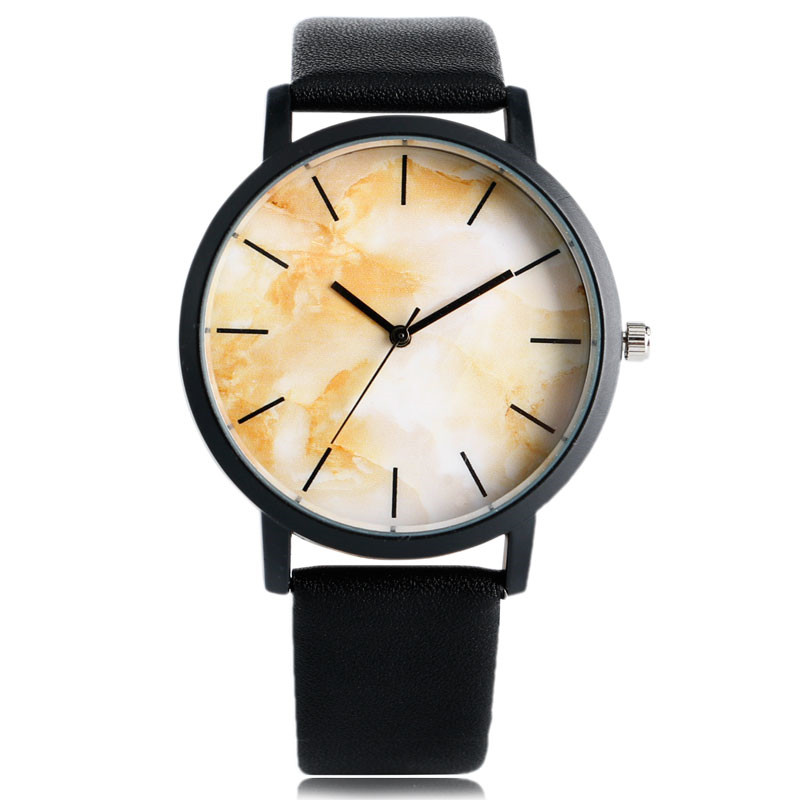 Simple Cool Men Women Quartz Wristwatch PU Leather Watchband Marble Grain Design Dial Fashion Casual Watches Gift for Female simple fashion hand made wooden design wristwatch 2 colors rectangle dial genuine leather band casual men women watch best gift