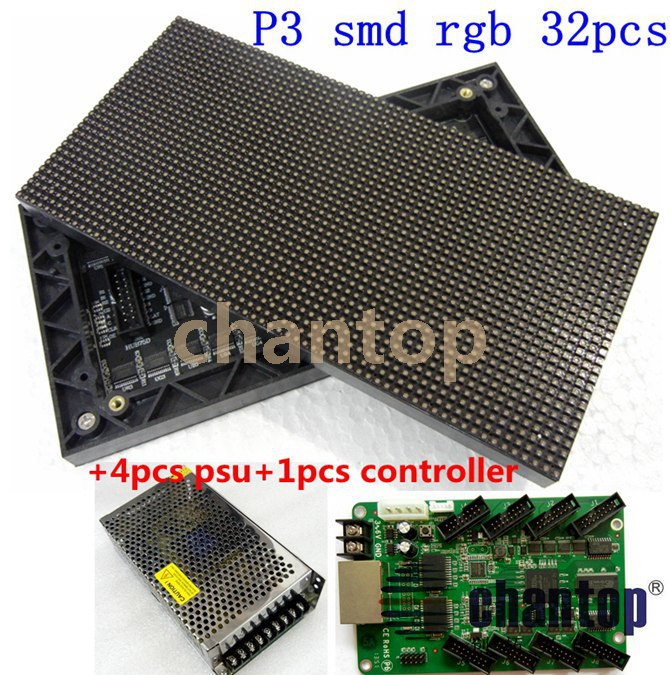 free ship 32pcs P3 indoor SMD RGB 192mm*96mm 64*32pixels led full color display module+4pcs power switch+1pcs video control card free shipping p5 indoor smd 3in1 full color led panel display module 1 16scan 320 320mm