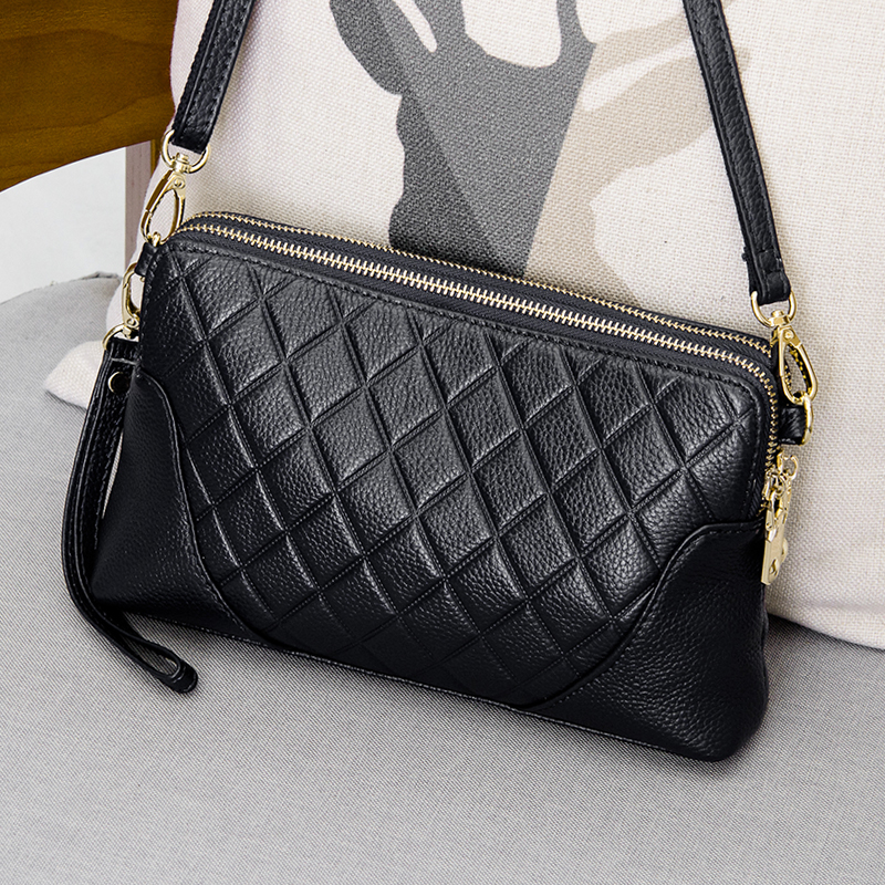 Genuine Leather Small Messenger Bags Crossbody Bag Female Wrist Clutch Bag Shoulder Bags For Women Day Clutches Lady Handbags