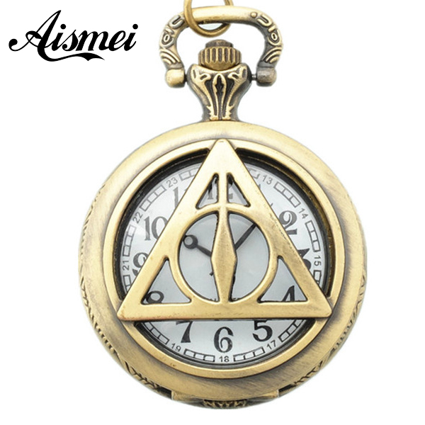 Vintage Large size triangle pocket watch necklace jewelry quartz watch clock accessories for men and women cheap price