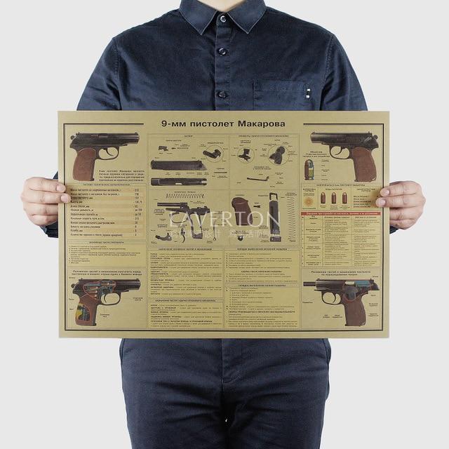 9 MM pistol/ Famous Weapon design /GUN /kraft paper/bar poster/Retro Poster/Stickers decorative painting 51x35.5cm Free shipping