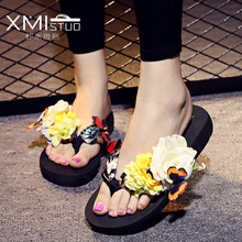 Big size 34-42 2016 Floral Sandals for Women Bohemia Style Summer Butterfly Flowers Beach Flip Flops Women's Shoes Girl Sandals