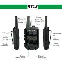 מכשיר הקשר 2pcs Retevis RT15 מיני מכשיר הקשר נייד USB שני הדרך רדיו תחנת UHF VOX טעינה משדר Communicator ווקי טוקי (2)