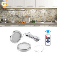 2.5W 12V DC Puck Lamp LED Under Cabinet Kitchen Light Remote Control Switch Closet Cupboard Lighting Indoor Night Lights