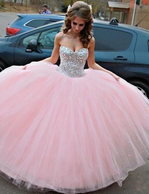 2351bcf6e8f Light Pink Quinceanera Dresses Sweetheart Crystal Beads and Sequins Puffy  Tulle Skirt Sweet 16 Dress L775