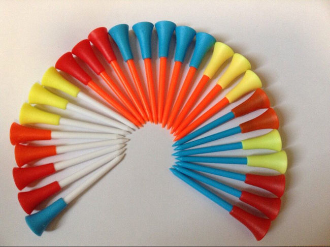 50pcs bulk Assorted color plastic golf tee with rubber tip