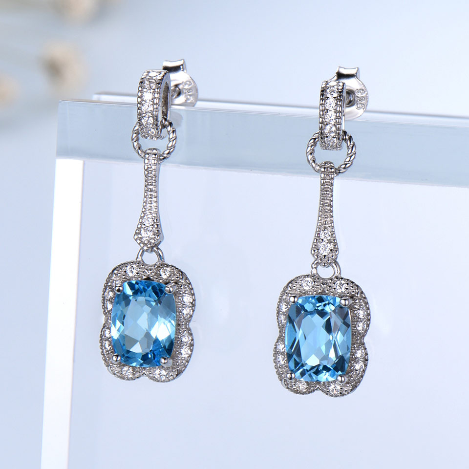 UMCHO 3.2CT Natural Blue Topaz Gemstone Earrings 925 Sterling Silver Earrings For Women Fine Jewelry Party Gift  2018 New
