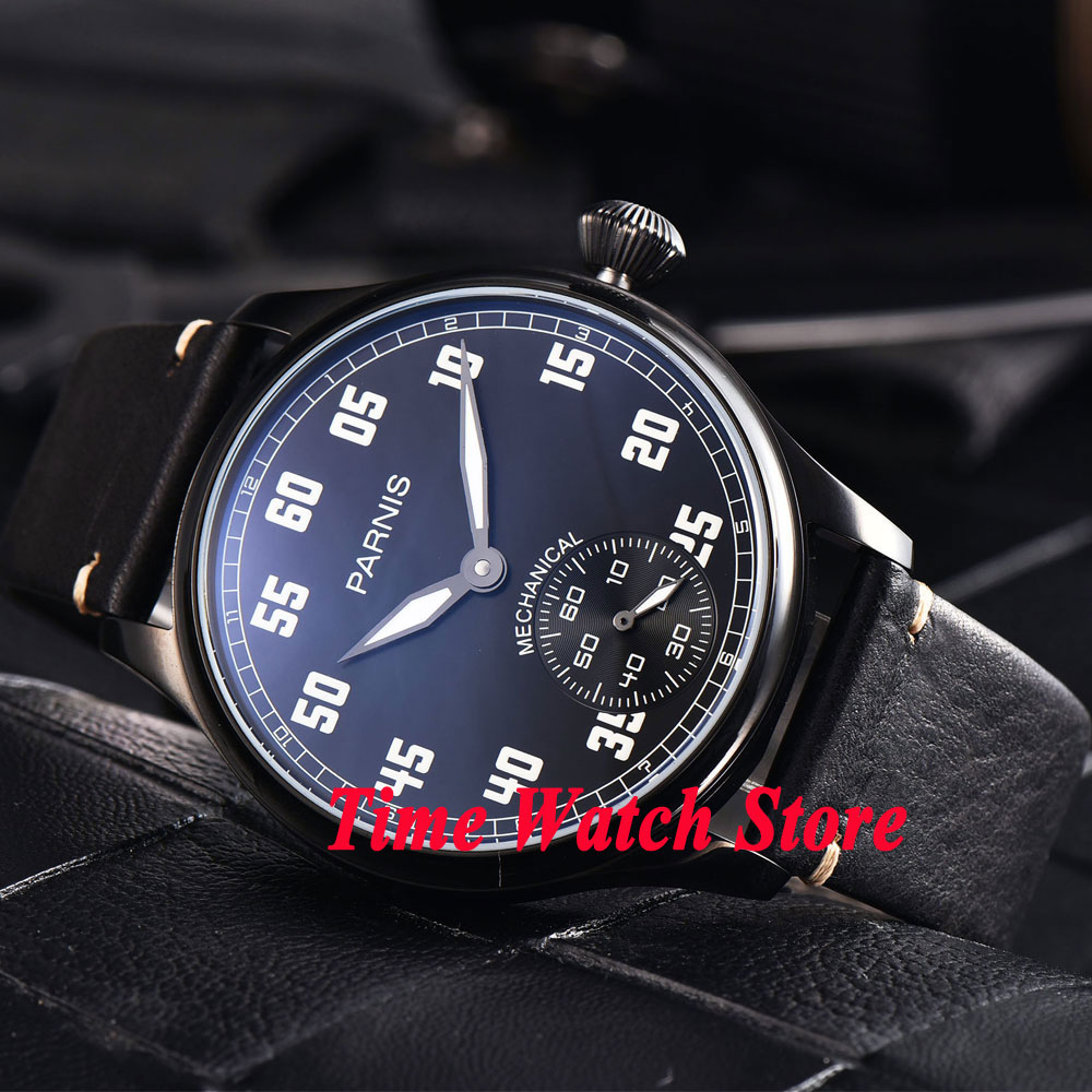 купить 44mm Parnis black dial PVD case luminous 17 jewels mechanical 6498 hand winding movement mens watch 820 по цене 5925.98 рублей