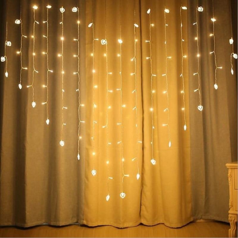 LED Love Heart String Light 2*1.5M Butterfly Curtain Light 8 Modes Wedding Party Garden Decor Light String Chains 220V EU Plug