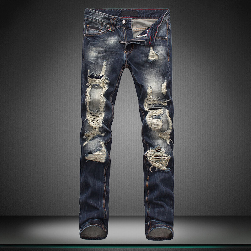 fashion cool streets man jeans men no stretch Little feet pants straight hole brand pants trousers