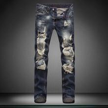 Мода прохладный улицы мужчина джинсы мужчин нет стрейч ножки брюки прямые отверстие бренд брюки брюки дизайнер мальчик джинсы