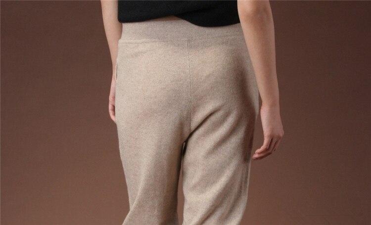 l44 Schnur Frauen elastische Salon Taille Uem42 dunkelbeige chellangen kn 100Kaschmir Ziege Hosen 5ARjL43