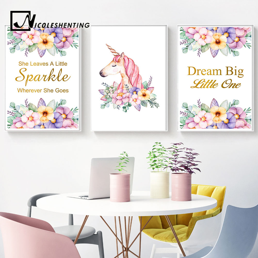 Watercolor Flowers Unicorn Wall Art Canvas Posters Nordic Nursery Prints Painting Wall Picture for Living Room Modern Home Decor  wall art unicorn | DIY Unicorn & Skull | EASY Pastel Goth Tumblr Wall Art | Watercolor Flowers font b Unicorn b font font b Wall b font font b Art b