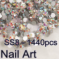 Shiny!SS8 1440pcs Crystal AB Round Flatback Nail Art Rhinestones For DIY Nails Art Cell Phone And Shoes
