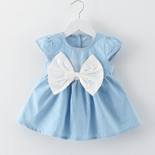 BibiCola Baby Girl Dress 2017 Summer Newborn Clothing big bow Cotton Dress for Girls infant Princess Bowknot Clothing Dress