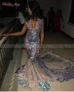 Image 2 - Robe de bal pour filles noires, robe de bal pour filles noires, en paillettes scintillantes, col en v, robe de soirée africaine pour femmes, grande taille