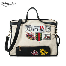 Rdywbu New Canvas Shoulder Bag Women Street Beat Badge Handbag Ladies Large Capacity Casual Tote Handbag Patch Messenger Bag H80