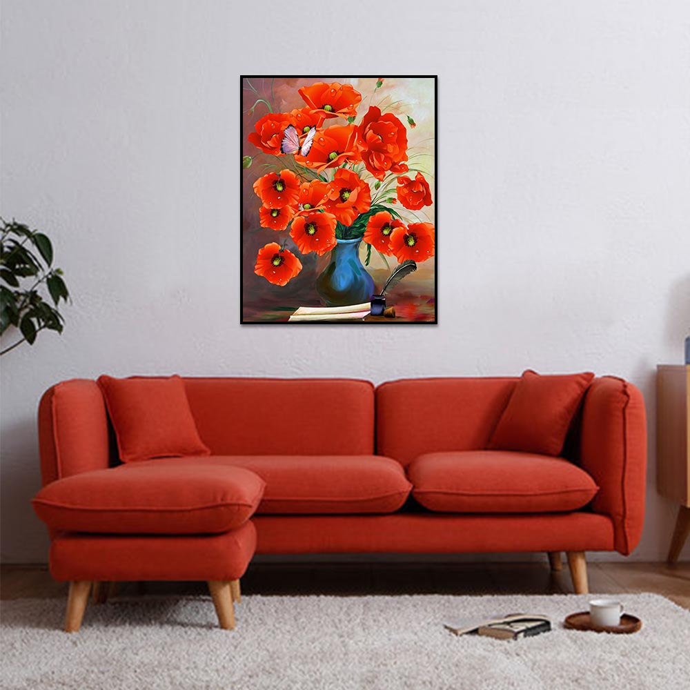 Unframed Canvas Prints Art Painting Watercolor Red Flower Prints Wall Pictures For Living Room Wall Art Decoration Drop Shipping