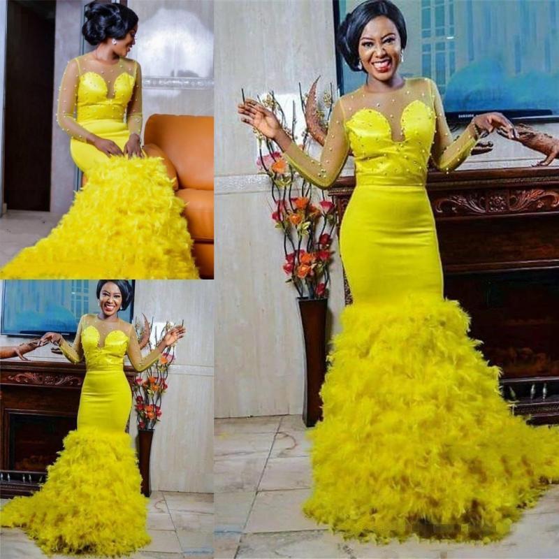 Jaune sirène 2020 sud-africain pure perles perlées manches longues robes ruché balayage Train fête robes de mariée