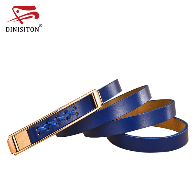 0f479017af462 DINISITON Women Thin Belt Cowhide Genuine Leather Skinny Waist Belts Narrow  Waistband Strap Summer Dress Accessories AD008