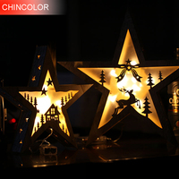 1pcs Holiday Lights Wooden 28cm Five Star Led Light String Battery Operated Xmas Christmas Wine Bar