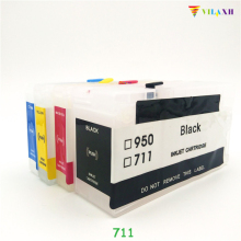 vilaxh 711 Empty Refillable Ink Cartridge Replacement For HP 711 XL 711XL for Designjet T120 T520 Printer With ARC Chip for hp 70 280ml empty refillable ink cartridge with reset chip for hp designjet z5400 printer 6 colors