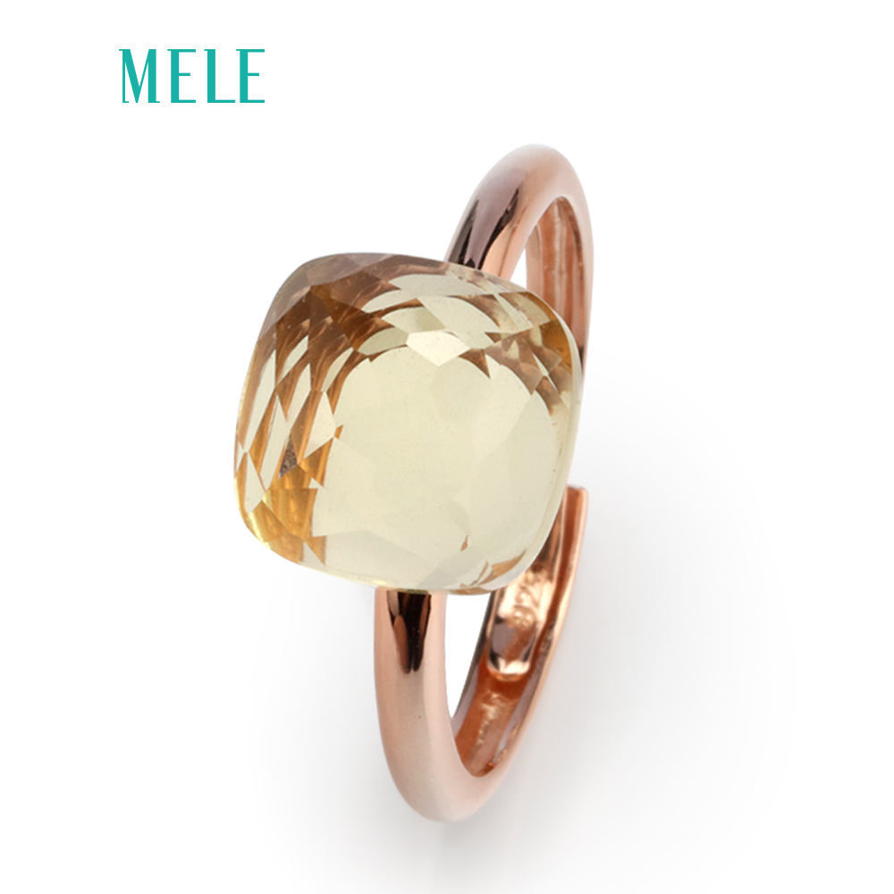 MELE Natural lemon quarts silver ring, cushion 10mm*10mm, light yellow color, top faced cutting, classical style for ladies