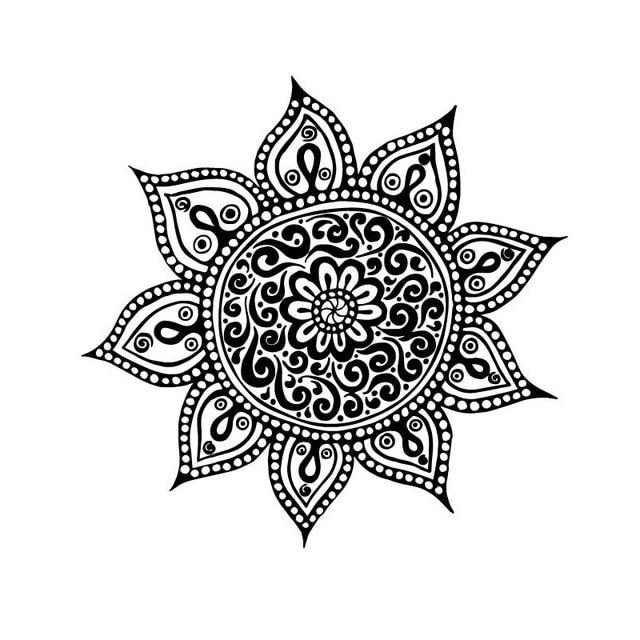 Yoga Flower Mehndi Indian Mandala Buddha Symbol Wall Decal Buddhism