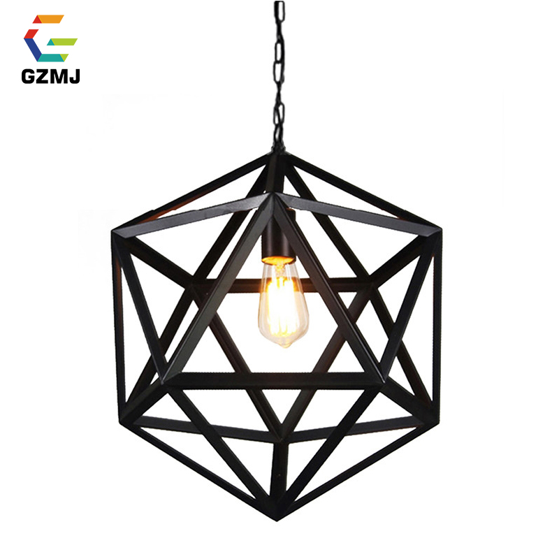 GZMJ Vintage Metal Pendant Lights E27 Iron Cage Hanging Lamp for Bedroom Living Room Industrial Decor 110-240V LED Hanglamp gzmj vintage metal led pendant lights 90 260v hemp rope decor bedroom hanging lamp retro iron loft hanglamp for bar restaurant