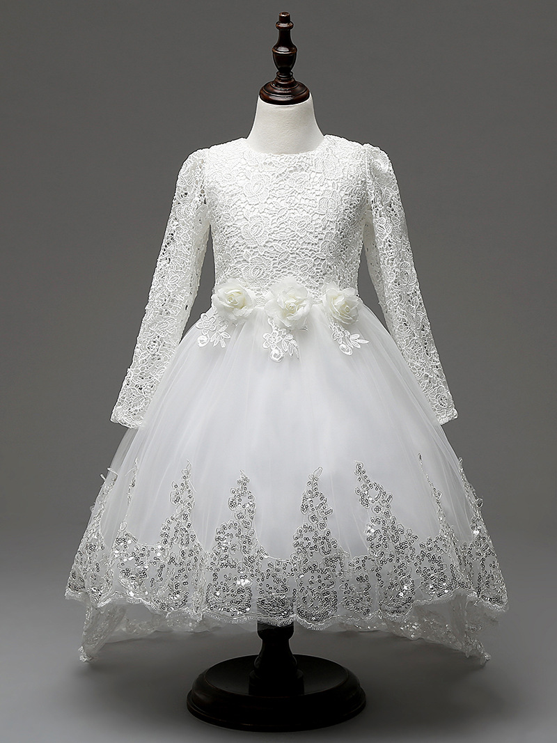 Flower Girls First Communion Dress Lace Applique Embroidered Kids Princess Wedding Bridesmaid Floor Length Layered Puffy Tulle Dresses Pageant Birthday Evening Long Maxi Prom Party Ball Gown For Child