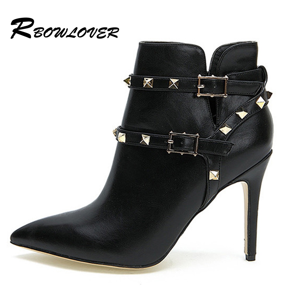 RBOWLOVER Women Boots Autumn Winter Short Boots Sexy Casual Rivets Pointed Toe Boots Thin High Heels Short Ankle Boots