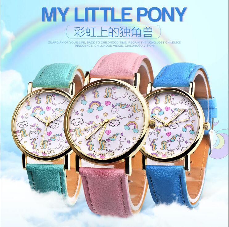 NEW Children Watch Unicorn Leather Strap Analog Dial Quartz Watches Kids Wrist Watches For Boys Girls Xmas Gifts Cartoon Watch