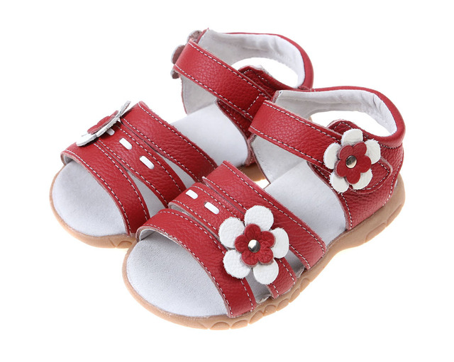 White Leather Sandals Newest Flower Girls Sweat Proof Leather