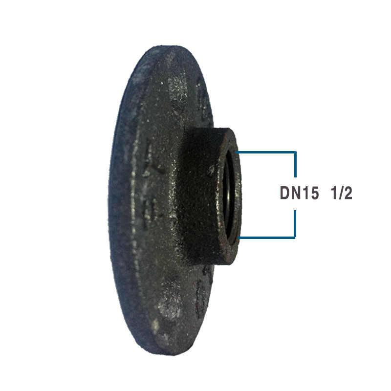 1 個鋳鉄フランジヴィンテージ工業風固定ベースブラケットパイプ継手黒製品三穴フランジ 1/2 3/4