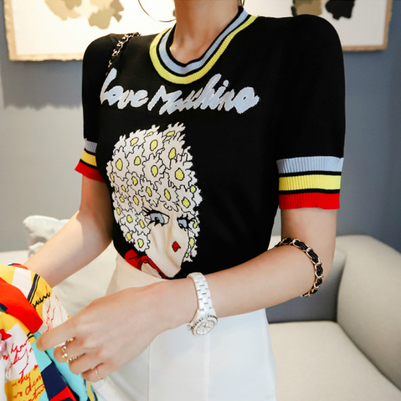 Girl Pattern Short Sleeve Knitting Cloth Women's Black Top Jacquard Female Pullover Jumper Casual Sweater