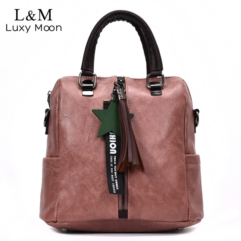 Luxy moon Women Backpack Vintage PU Leather Tassel Backpacks Shoulder Bags For Teenage Girls School Bag Black Travel Bag XA869H jmd backpacks for teenage girls women leather with headphone jack backpack school bag casual large capacity vintage laptop bag
