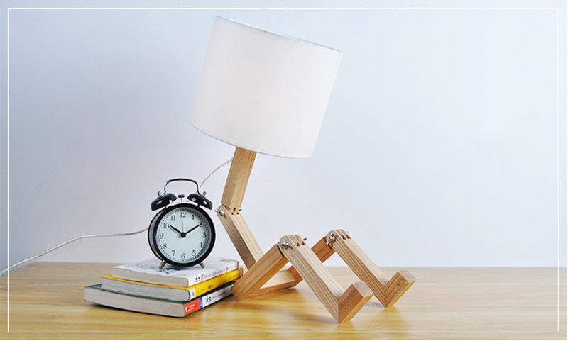 Nordice Modern Creative Gifts Foldable Robot Desk Table Lamps Wooden Base Table Lamp Bedside Reading Desk Lamp Home Decor Light Fixture (8)