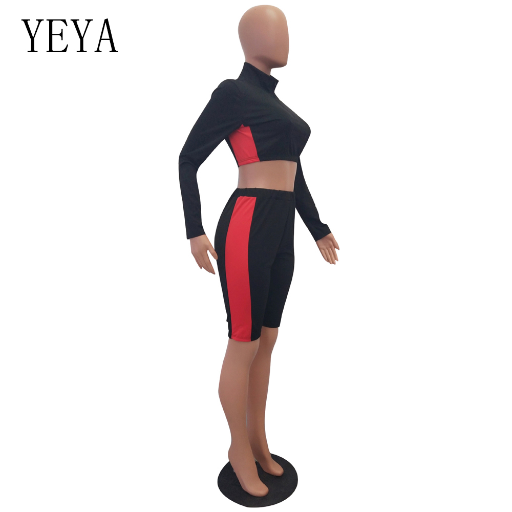 YEYA Two Piece Set Rompers Womens Jumpsuit Long Sleeve Zipper Color Block Bodycon Playsuit Casual Overalls Summer Sexy Bodysuits 4