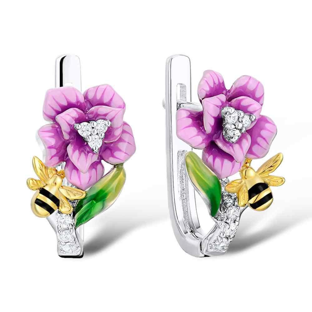 SANTUZZA เงินชุดเครื่องประดับสำหรับผู้หญิง 925 เงินสเตอร์ลิงเคลือบทำด้วยมือดอกไม้สีชมพู Bee แหวนต่างหูจี้แฟชั่นเครื่องประดับ