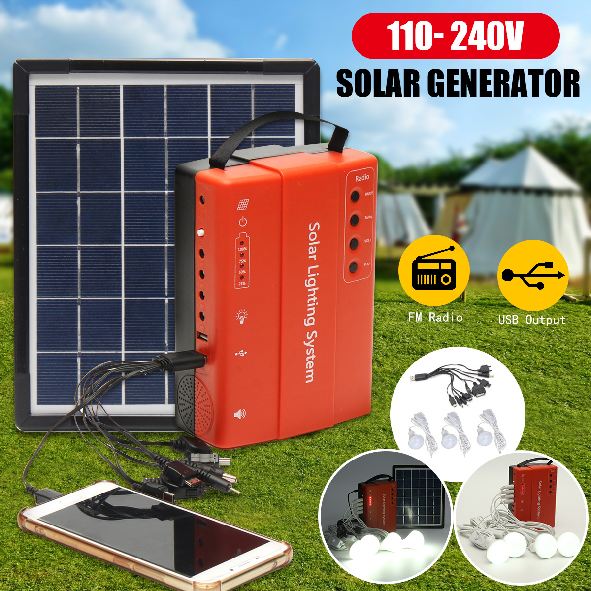 Home Outdoor Solar Panel Power Storage Generator System LED Light USB Charger Portable LED Lighting System Support FM Radio icoco 3 in 1 emergency charger flashlight hand crank generator wind up solar dynamo powered fm am radio charger led flashlight