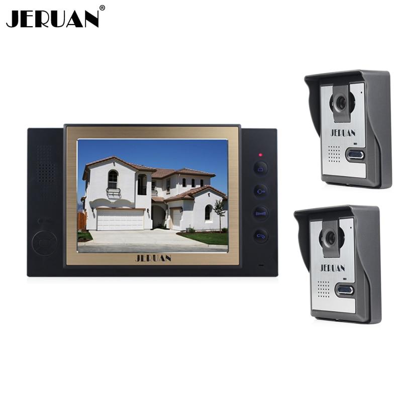 JERUAN 8 inch video door phone doorbell intercom system Two to One Video Doorphone with video recording photo taking