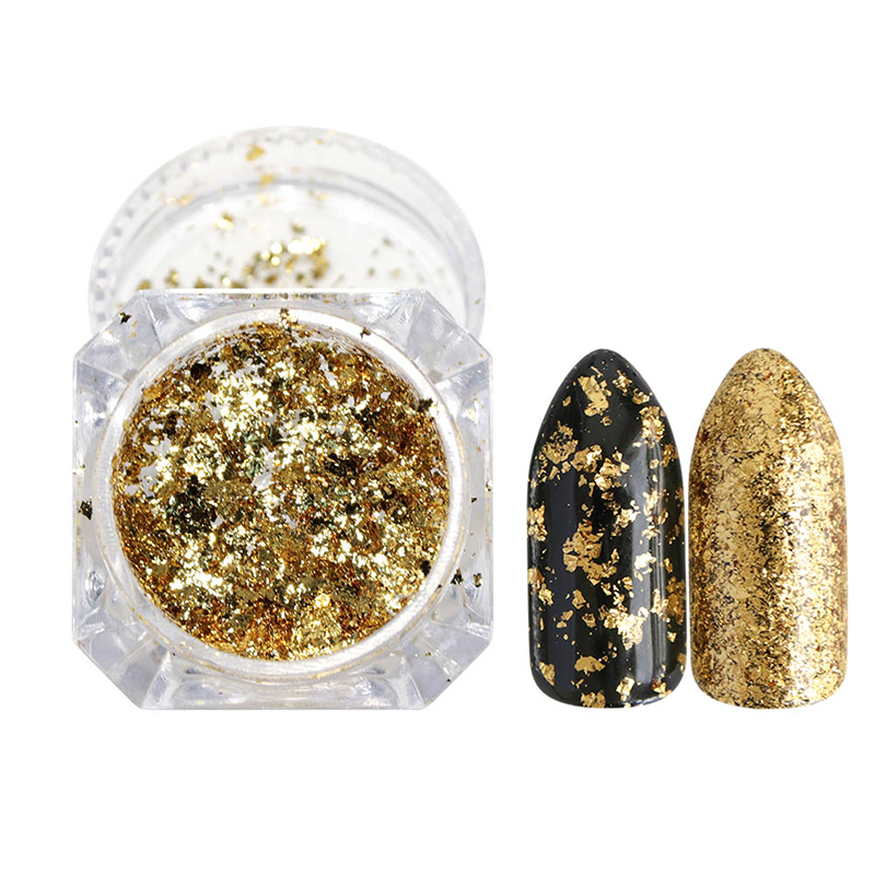 Image 3 - 1pcs Mirror Firework Glitter Nail Powder Sequins Gold Silver Paillette Irregular Shape Chameleon Nail Art Flake Tip LACB01/02-in Nail Glitter from Beauty & Health