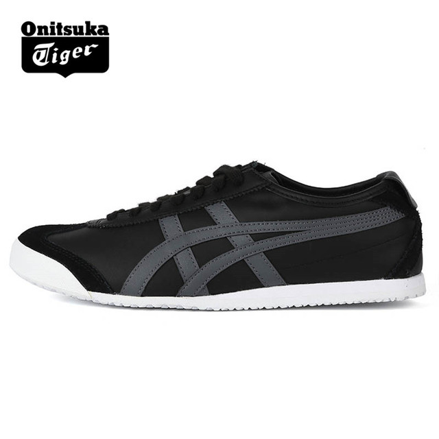 finest selection ceddb c3863 US $125.39 |ONITSUKA TIGER MEXICO 66 Men Women Shoes Black Leather Rubber  Hard Wearing Daily Travel Street Low Sneakers Badminton Shoes -in Badminton  ...