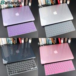 Кристальный жесткий чехол для Macbook Air 13 Retina Pro 13 15 16 A2141 2019 A2159 жесткий чехол с бесплатной клавиатурой A1466 A1990 A1932