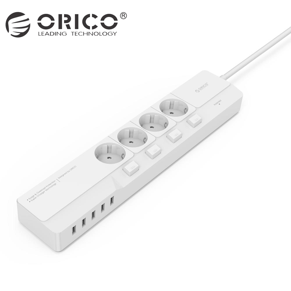 ORICO OSJ Smart Power Strip Socket 4 AC Outlet 5 USB Charging Ports Surge Protector Desktop Charger кабели orico кабель microusb orico adc 10