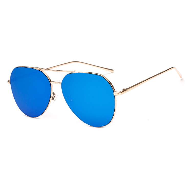 New Fashion Flat Lens Mirror aviation Sunglasses Women Stylish Sun Glasses Lady Men Metal Frame Eyewear High Quality 5