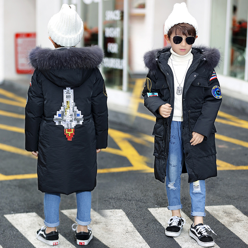 HSSCZL Boy girls white down jacket 2018 winter thicken hooded fur outerwear big girl Aircraft pattern unisex outerwear overcoat a15 girls down jacket 2017 new cold winter thick fur hooded long parkas big girl down jakcet coat teens outerwear overcoat 12 14