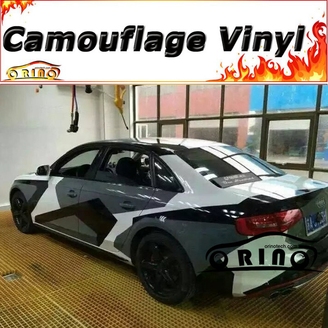 Auto Styling Schwarz Grau Weiss Camouflage Film Wrap Auto Vinyl