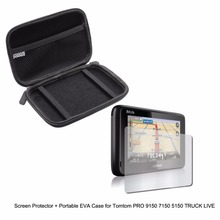 """5"""" Inche Automobile Moveable Defend Case bag + Clear Display screen Protector Defend Movie for Tomtom PRO 9150 7150 5150 TRUCK LIVE GPS"""